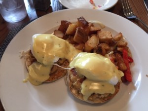 Eggs Chesapeake: Poached Eggs over mini Crab Cakes on top of an English Muffin. Covered with Hollandaise Sauce and served with Homefries. $14